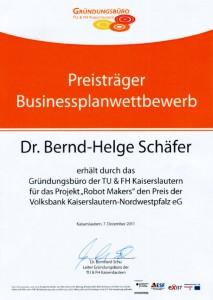 Urkunde des Businessplanwettbewerbs des Gründungsbüros der Uni und Hochschule Kaiserslautern