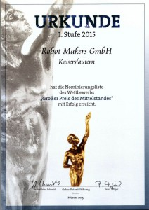 """For the second year in a row the Robot Makers GmbH was nominated for the """"Grand Prix of Medium-Sized Enterprises"""" by the Oskar Patzelt Foundation"""