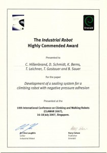 Certificate of the Industrial Robot Award at the 10. International Conference Of Walking and Climbing Robots 2007