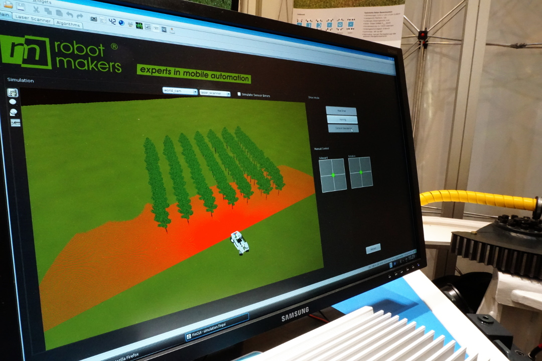 Simulation of the base control and the environmental sensors of the elWObot