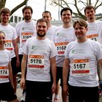 The Robot Makers Running Team before the start to the B2RUN corporate challenge in the year 2017