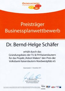 Certificate of the business plan competition of the founding office of the University of Kaiserslautern