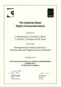 Auszeichnung mit dem Industrial Robot Award 2007