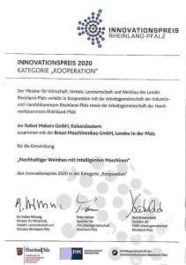 Innovationspreis 2020 Kategorie Kooperation zusammen mit Braun Maschinenbau GmbH